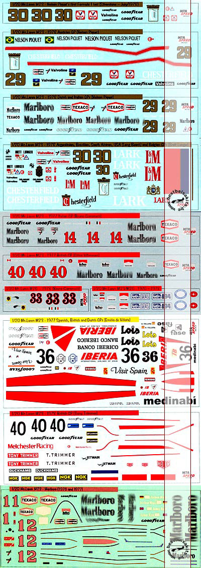 MTR SPEED / ACE 1/20 10 VERSIONS FULL SPONSOR DECAL for TAMIYA 1/20 M23