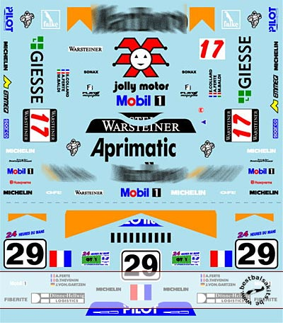MUSEUM COLLECTION 1/24 PORSCHE 911 GT1 LE MANS 98 DECALS for TAMIYA