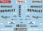 MUSEUM COLLECTION 1/43 TRANS DECAL RENAULT R29 JAPAN ABU DHABI GP ALONSO