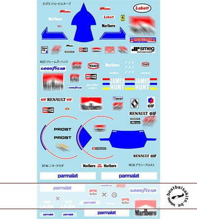 MUSEUM COLLECTION 1/20 DRIVER DECALS for TAMIYA 312T3 BT46 M23 RE30