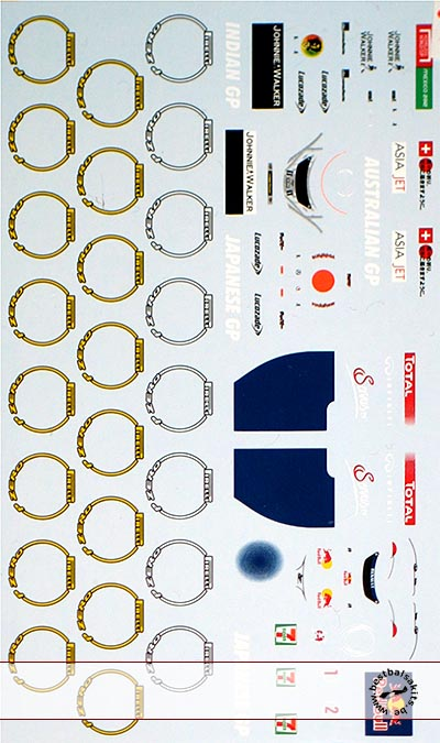 MUSEUM COLLECTION 1/43 FILL IN PIRELLI  TIRE SPONSOR DECAL RB7 MP4/25 C31
