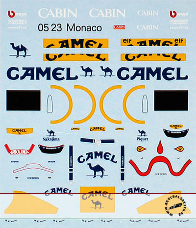 MUSEUM COLLECTION 1/43 TRANS DECAL LOTUS 100T NAKAJIMA PIQUET for KYOSHO