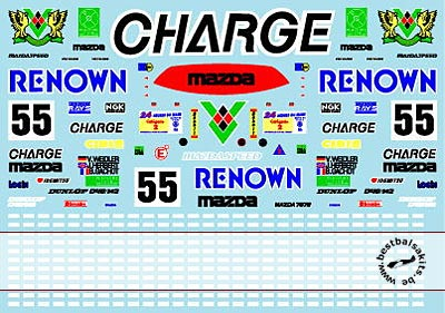 MUSEUM COLLECTION 1/24 1/24 RENOWN CHARGE MAZDA 787B DECALS for TAMIYA
