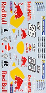MUSEUM COLLECTION 1/12 HONDA RC213V REPSOL RED BULL DECALS