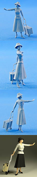 NORTHSTAR 1/43 FIGURINI LADY WALKING WITH SUITCASE ON TROLLY