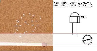 RBM  ALU HEX ACORN NUTS 25pc .050 (1.27mm)