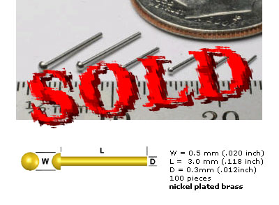 SCALE HARDWARE  0.5mm Rivets Nickel 100pc Nickel Plated Brass