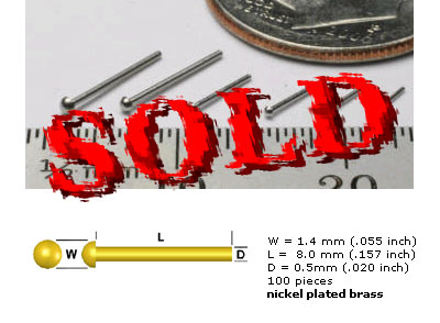 SCALE HARDWARE  1.4mm Scale Rivets 100pc  Nickel Plated Brass