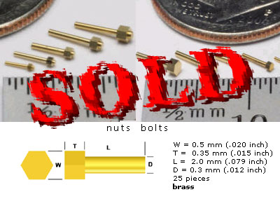 SCALE HARDWARE  Simulated Hex Bolt  0.5 mm Head  Brass, 25pc