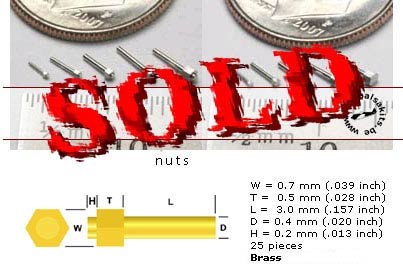 SCALE HARDWARE  0.7 mm Simulated Hex Nut with Stud Brass, 25pc