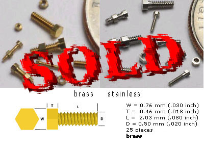 SCALE HARDWARE  0.5 mm Threaded Hex Bolt Brass, 25pc