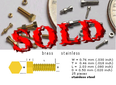 SCALE HARDWARE  0.5 mm Threaded Hex Bolt Stainless, 25pc