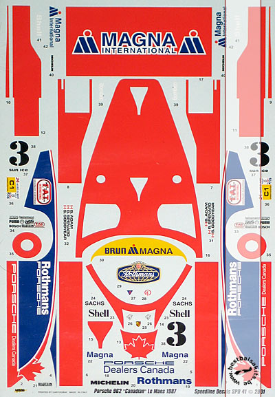 SPEED LINE 1/24 CANADIAN DECAL LE MANS 87 TAMIYA 1/24 PORSCHE 962