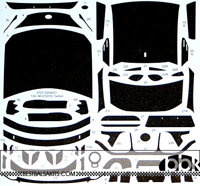 STUDIO 27 1/24 TOYOTA 86 GT FULL CARBON DECAL for AOSHIMA