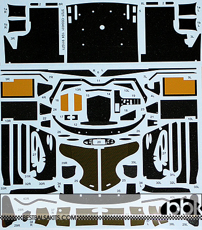 STUDIO 27 1/24 PORSCHE 911 GT1 FULL CARBON DECAL TAMIYA #24186