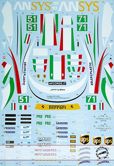 STUDIO 27 1/24 458 #71 #51 CORSE ITALIA 2013 FISICHELLA BRUNI