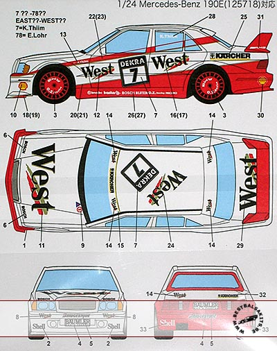 STUDIO 27 1/24 MERCEDES 190E AMG-WEST&EAST #7 #78 DTM (1991)