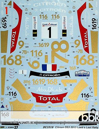 STUDIO 27 1/24 CITROEN DS3 RALLY FRANCE 2013 LOEB LAST RACE