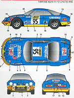 STUDIO 27 1/24 RENAULT ALPINE A110 #95 TOUR DE FRANCE 1972