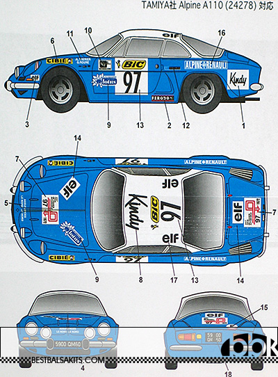 STUDIO 27 1/24 RENAULT ALPINE A110 #95 TD FRANCE 72