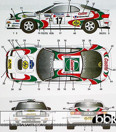 STUDIO 27 1/24 CELICA GT FOUR ST185 #17 1995 SWEDEN RALLY CASTROL