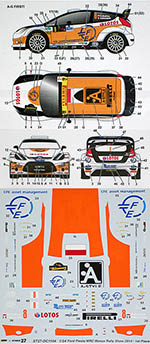 STUDIO 27 1/24 FORD FIESTA WRC #8 MONZA RALLY KUBICA BENEDETTI