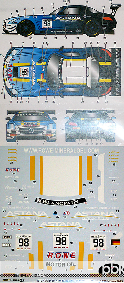 STUDIO 27 1/24 MERCEDES SLS ROWE RACING #98 Monza 2015 for FUJIMI