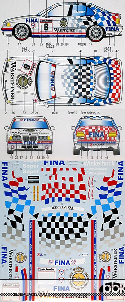 STUDIO 27 1/24 BMW 318i WARSTEINER #6 #22 BTCC 1993 for HASEGAWA