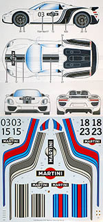 STUDIO 27 1/24 PORSCHE 918 MARTINI DRESS UP DECAL for REVELL