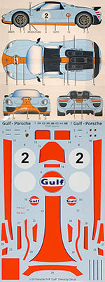 STUDIO 27 1/24 PORSCHE 918 GULF DRESS UP DECAL for REVELL