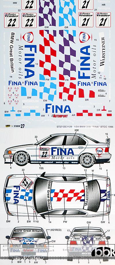 STUDIO 27 1/24 BMW 318i FINA BTCC 1996 DECAL for HASEGAWA