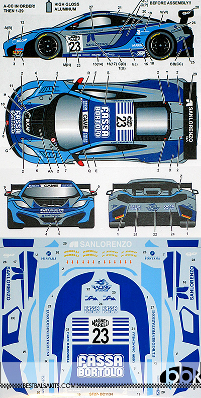 STUDIO 27 1/24 McLAREN MP4-12C RACING STUDIO #23 ITALIAN GT 2015