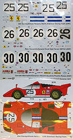 STUDIO 27 1/24 FERRARI 512S #35/#26/#30 DAYTONA 1970 DECAL