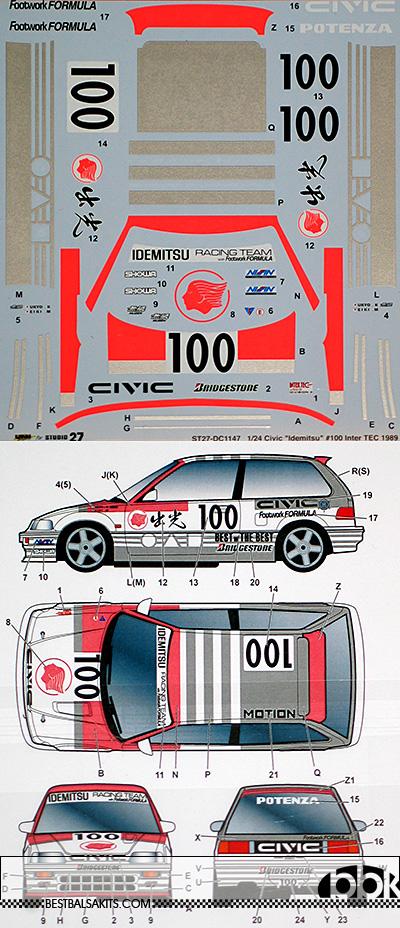 STUDIO 27 1/24 HONDA CIVIC EF3 IDEMITSU #100 INTER TEC 1989