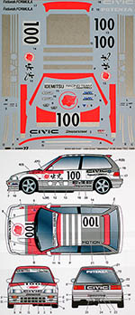 STUDIO 27 1/24 HONDA CIVIC EF3 IDEMITSU #100 INTER TEC 1989