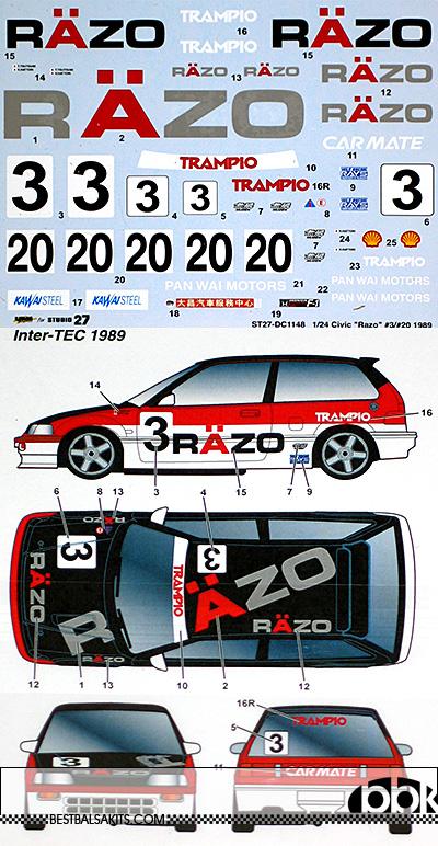 STUDIO 27 1/24 HONDA CIVIC EF3 RAZO #3 #20 1989 DECAL
