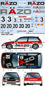 STUDIO 27 1/24 HONDA CIVIC EF3 RAZO #3 #20 1989 DECAL