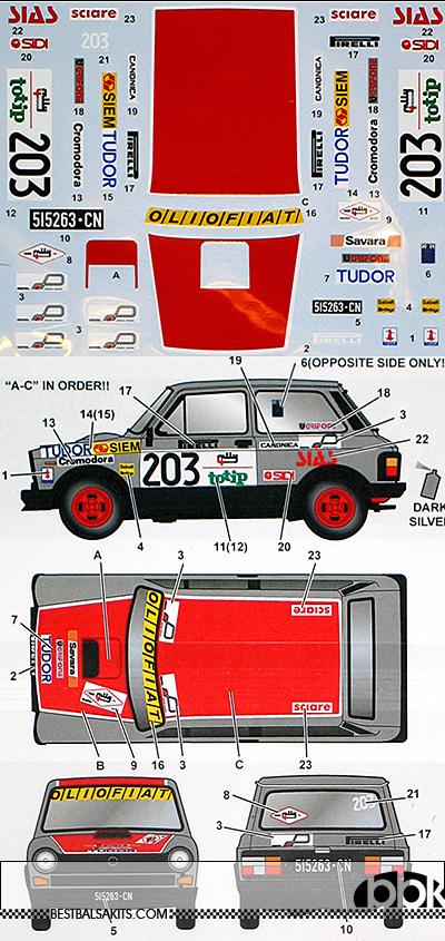 STUDIO 27 1/24 AUTOBIANCHI A112 ABARTH #203 4RALLY 1982 FUJIMI
