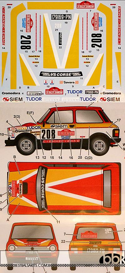 STUDIO 27 1/24 AUTOBIANCHI A112 ABARTH #208 SANREMO 1983 FUJIMI