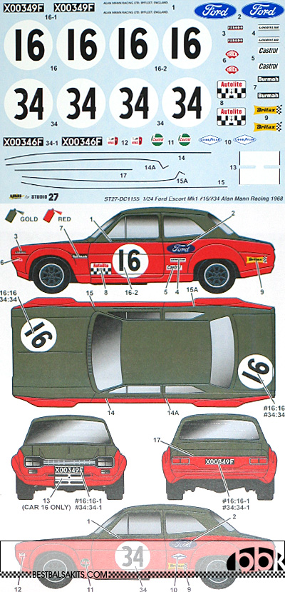 STUDIO 27 1/24 FORD ESCORT MK1 #16/#34 ALAN MANN RACING 1968