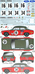 STUDIO 27 1/24 FORD ESCORT MK1 #16/#34 ALAN MANN RACING 1968