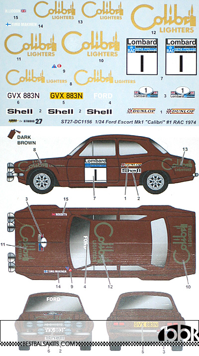 STUDIO 27 1/24 FORD ESCORT MK1 CALIBRI #1 RAC RALLY 1974