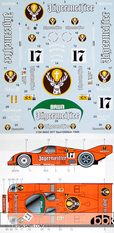 STUDIO 27 1/24 PORSCHE 962C JÄGERMEISTER SPA 1000Km 1986 #17