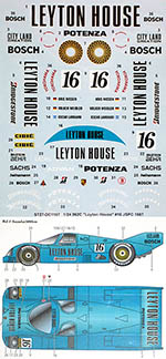 STUDIO 27 1/24 PORSCHE 962C LEYTON HOUSE #16 JSPC 1987 DECAL
