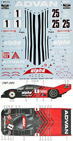 STUDIO 27 1/24 PORSCHE 962C ADVAN JSPC 1987-89 DECAL for HASEGAWA
