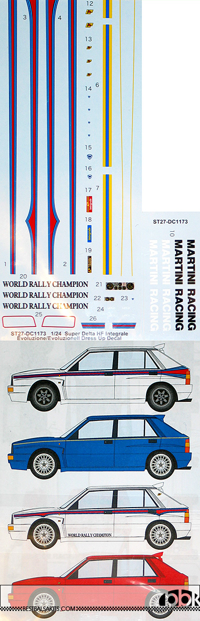 STUDIO 27 1/24 SUPER DELTA HF INTEGRALE EVOLUZIONE DRESS UP DECAL