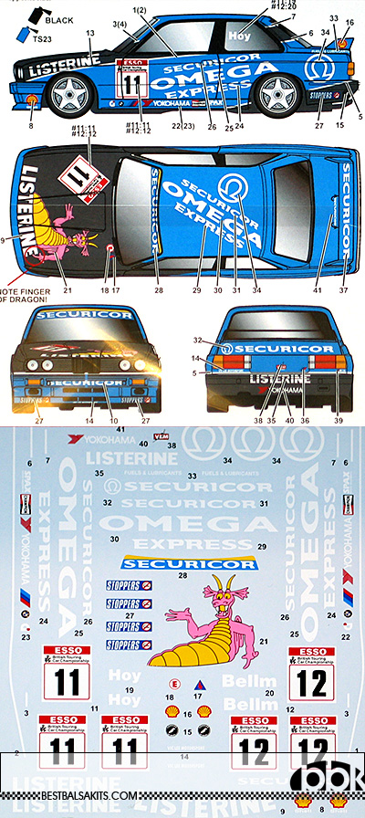 STUDIO 27 1/24 BMW M3 E30 LISTERINE BTCC 1991 DECAL for AOSHIMA