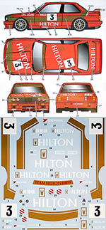 STUDIO 27 1/24 BMW M3 E30 HILTON MACCAU GP 1987 for AOSHIMA