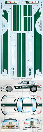 STUDIO 27 1/24 MERCEDES SLS AMG DUBAI POLICE DECAL for FUJIMI