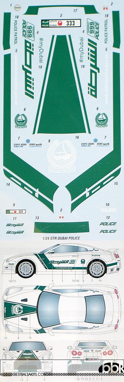 STUDIO 27 1/24 NISSAN R35 GT-R DUBAI POLICE DECAL for AOSHIMA